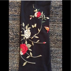Lucky Brand Sweatpants Embroidered Floral Wide Leg
